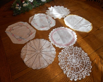 Lot of 7 Vintage Doilies