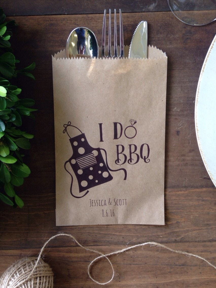 I Do Bbq Couples Shower Favor Silverware Holder By