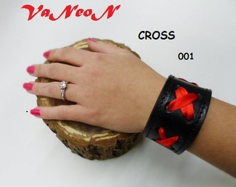 braccialetto in cuoio nero donna, leather bracelet, pulsera cuero  MADE IN ITALY