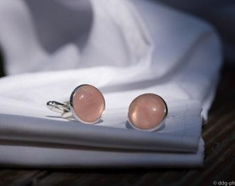 Rose Quartz Cuff Links/ Pink Quartz Cufflinks/ Stone Cufflinks/ Groom Cufflinks