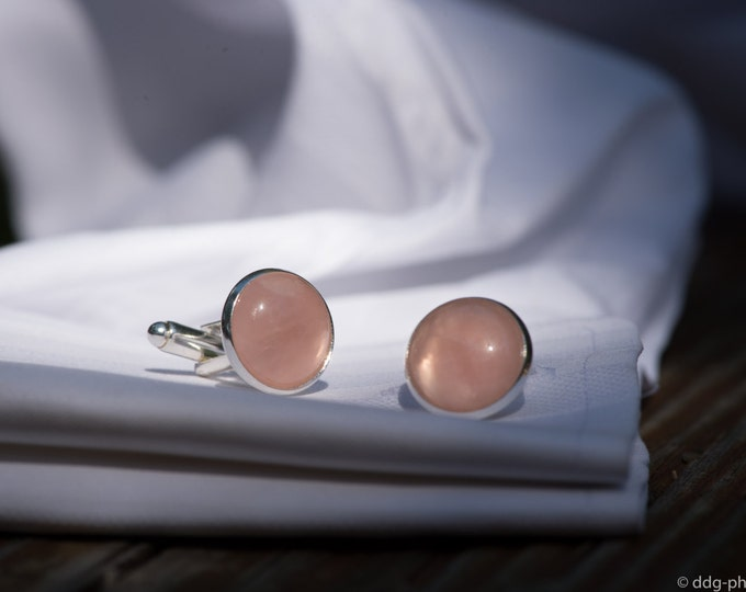 Rose Quartz Cufflinks--Pink Quartz Cufflinks--Rose Quartz Gemstone Cufflinks