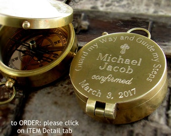 Confirmation Gift Boy, Catholic Sponsor Gift, 1st Communion Boy Gift, Godparents Confirmation Gift, Engraved Compass, Working Compass