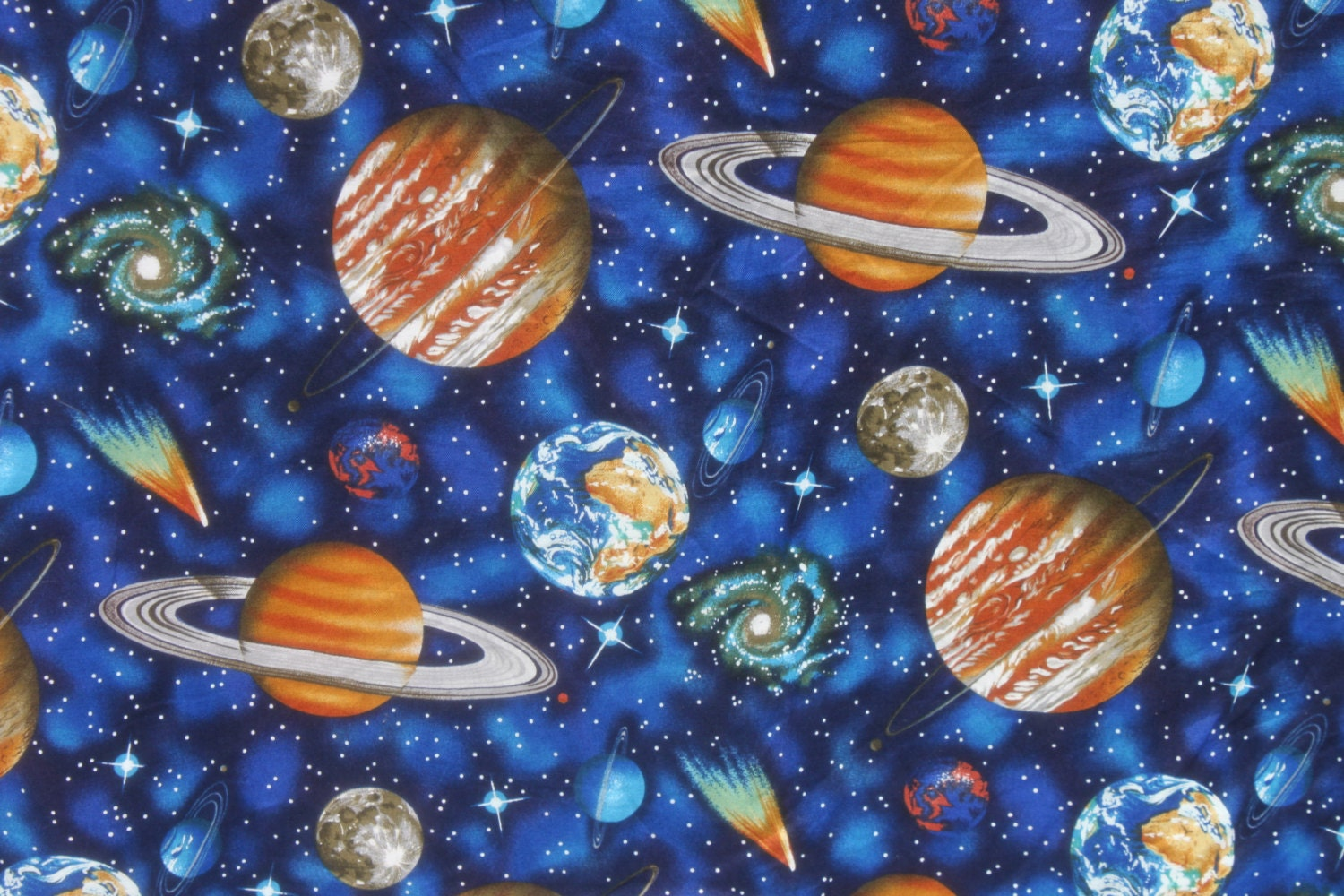 Space planet cotton fabric by the half or full yard kids blue for Space fabric by the yard