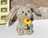 Hand Knitted  Bunny, Easter Bunny, All Handmade, READY TO SHIP, Stuffed Bunny, Bunny with Flower, Easter Gift, Plush Rabbit, Soft Bunny Toy