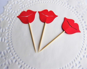 Set of 12 Lip Kiss Cupcake Toppers -kissing lips, wedding decoration, party Favor
