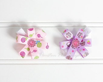 ON SALE Flower Hair Clips, Pink and Purple, Lollipops and Cupcakes- Set of 2 -SHIPS Free!