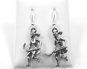 Pewter Girl Field Hockey Player Charms on Sterling Silver Ear Wire Dangle Earrings - 5453