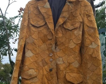 Leather Camel Jacket Scallop Fish Scale 1970's/ Hippie festival patchwork blazer