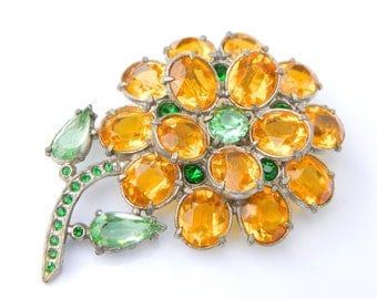 Pot Metal Flower Brooch 1930's Large Opulent Layered Pin Yellow Green Rhinestones Open Backed Vintage Collectible