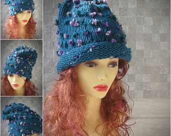 Beanies, Bohemian Clothing Slouchy Hat Oversized Tam Hand Knitted , Huge Boho Hat, Extra Large Slouchy Top Knit Hat in Turquoise Chunky Knit