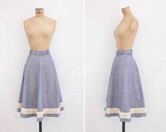 1950s Skirt - Vintage 50s Navy Linen Skirt - Ortigueira Skirt
