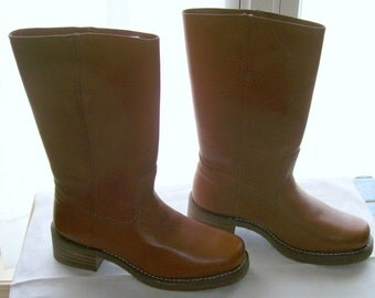 Arizona Jean Co. Ladies's Boots Medium Brown Near Mint Size 9D Leather, Solids,