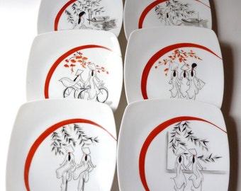 """""""The Vietnamese"""" Limoges porcelain six plates"""