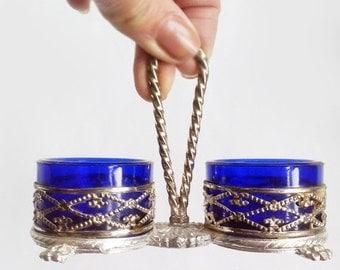 SALE Vintage Cobalt Blue Salt and Pepper Set ,Italian Blue Glass Open Salt and Pepper Set in Silver Plated Stand ,condiment set.