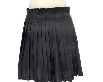 SALE Vintage Mini Skirt,Wool Pleated Gray Skirt ,French Designer Votre Nom Skirt , Vintage Pleated Wrap-around Skirt,Small Wool Skirt