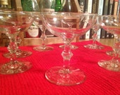 Vintage Coupe : Set of 8 matching cocktail glasses or champagne glasses (4 3/4 ounce coupes)