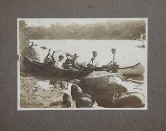 1900's Canoeing Photo Two Young Couples Enjoying A Ride On The Water