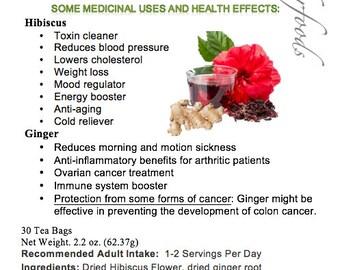 Simply Natural 100% Organic Hibiscus Flower Ginger Root Herbal Tea (30 Tea Bags) Caffeine Free