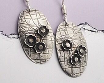 Silver Flower Earrings, Flower Earrings, Floral Earrings, Whimsical Earrings, Flower Cluster Earrings, Solid Sterling Silver Flower Earrings