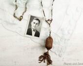 Upcycled tassel necklace / assemblage necklace / tassel necklace / assemblage jewelry / repurposed necklace / vintage brass / revived