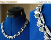 Its a steal 50 Unique 1950's Art Deco Trifari Necklace Choker with Metal Hook and Closure, Metal Bow Shaped Detail, Free Shipping