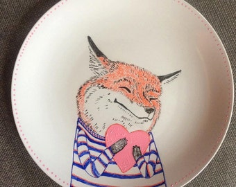 Foxy Valentine Illustrated Plate Made to Order