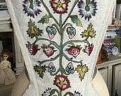 CUSTOM ORDERS 18th Century Silk Embroidery Linen Stomacher Outlander Jacobean Scottish Costume Historic Theater Wedding Vintage Needlework