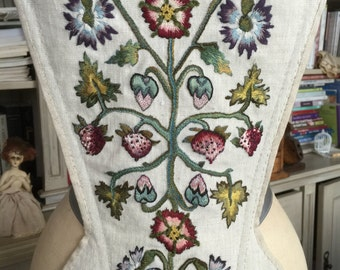 CUSTOM ORDERS 18th Century Silk Embroidery Linen Stomacher Outlander Jacobean Scottish Costume Historic Theater Wedding Vintage Needlework