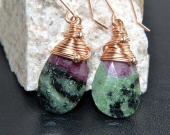 Ruby Zoisite Earrings, 14K Rose Gold Filled, Natural Gemstone, Multicolored, Wire wrapped, Handmade