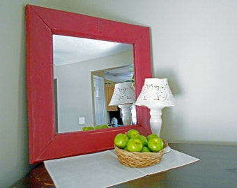 """Rustic Farmhouse Mirror Red Mirror Rustic Mirror Barn Red Rustic Mirror Made From Reclaimed Wood 17.5"""" x 17.5"""" Mirror"""