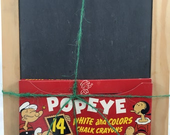 Vintage Popeye Chalk and Slate Chalkboard Set - 1953 - Awesome