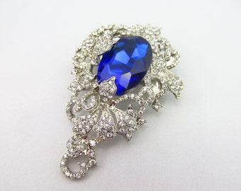 Blue Rhinestone Brooch / Blue Bridal Brooch / Blue Crystal Brooch Component / RBR-65 Blue