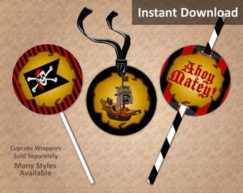 Pirate Cupcake Toppers, Favor Tags, Straw Flags, Instant Download, Ahoy Matey, Black, Crimson Red, Stripe, Party Decorations