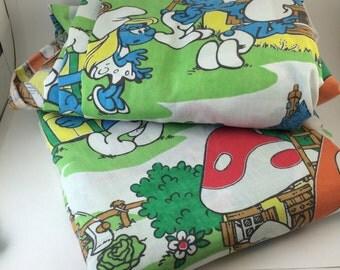 Smurf bedsheet set Full size Peyo Papa Smurf Smurfette Gargamel Azrael 80s cartoon characters