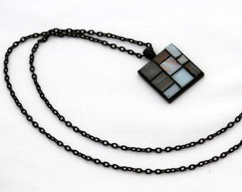 Grey & Black Mosaic Pendant on Black Chain