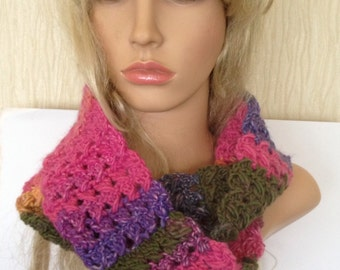 Ooak unique womens designer lace hand knit/crocheted autum,winter cowl,scarf,infinity neckwarmer multicolour hippie teen boho festival hippy