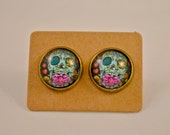Skull Jewelry // Gifts for Her // Day of the Dead// Halloween // Festive Rose Blue Sugar Skull // Candy Skull Antique Bronze Earrings