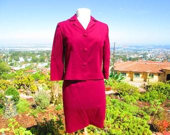 Vintage 1960s Wool 2 Piece Suit Jackie Style Vintage Suit Handmade Suit Plum Wool Suit Jacket and Skirt Vintage Dress Mad Men