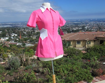 "Funky Vintage 1970's Ladies Uniform/ Top Bright Pink and White NOS ""Bye Bye Miss American Pie"""