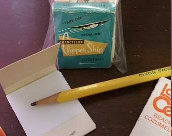 Teeny Tiny Vintage Matchbook Notepads ~ set of 5