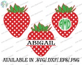 Digital Cut Files, Split & Monogram Strawberry, SVG, DXF, EPS, Floral, Summer, Garden, Spring, Frame, Polka Dot,Silhouette, Cricut