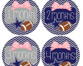 SALE Set of 12 Round Monthly Stickers Girls Pink Bow Dallas Cowboys Football Photo Props Keepsakes - MOSG034