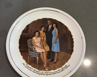 LBJ Lyndon Johnson Commemorative plate and Family  set