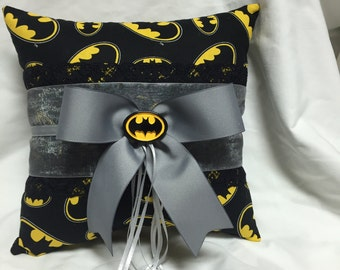 Custom Bat Hero Wedding Ring Bearer Pillow