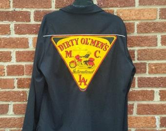 Vtg 1970s Dirty Ol' Mens Motorcycle Club LA Button Up Shirt Large // Biker M.C.