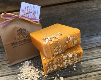 Eczema Relief Honey Milk & Oatmeal Soap, Dry Skin Relief Lavender Patchouli Exfoliating Soap, Natural Honey Oatmeal Soap with Goat Milk