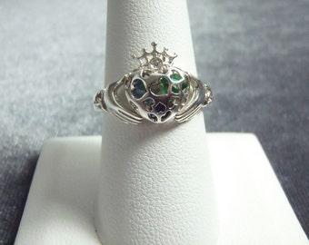 Sterling Silver Multi Stone Claddagh Ring Sz 8 1/4 R192