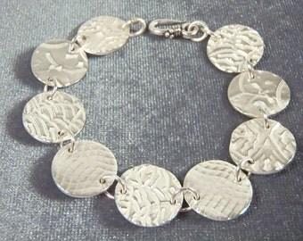 Sterling Silver Disk Bracelet B40