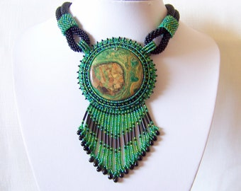 Statement necklace - Beadwork Bead Embroidery Pendant Necklace with Green Kambaba Jasper - green and black necklace - Big pendant necklace