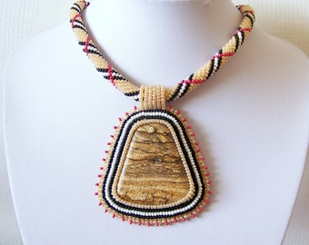 Beadwork Bead Embroidery Pendant Necklace with Owyhee Picture Jasper -  DESERT SONG - Big pendant - brown - beige - black - white - red